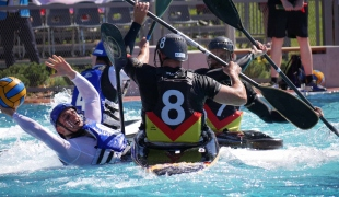 france men lying shooting around germany icf canoe polo world games 2017