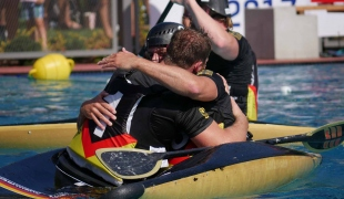 germany men hug celebrating icf canoe polo world games 2017