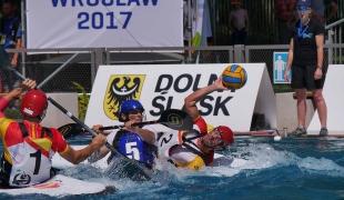 spain men passing against france icf canoe polo world games 2017