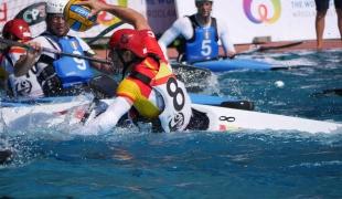 spain men passing balancing bracing icf canoe polo world games 2017