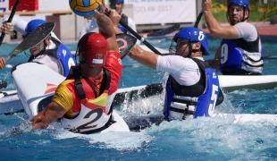 spain men passing over france icf canoe polo world games 2017