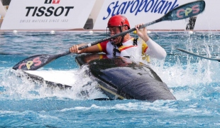 spain men with boat upside down on deck icf canoe polo world games 2017