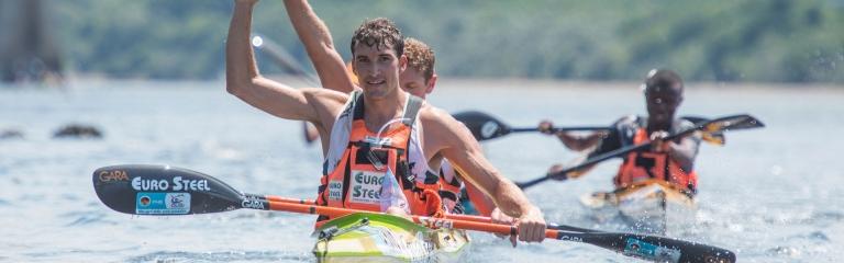 South Africa Andy Birkett Hank McGregor Dusi Marathon finish.