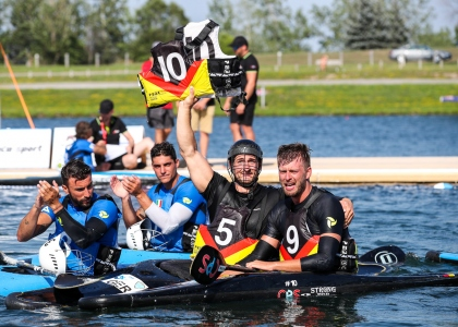 German tribute Fiete Junge canoe polo Welland 2018