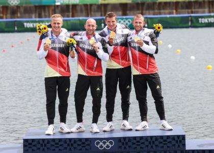 Germany K4 men Tokyo podium