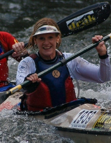 60 years old Caroline Henderson ready for FNB Dusi Canoe Marathon K1