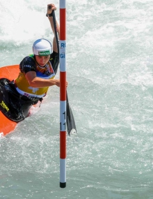 Austria's Nadine Weratschnig in the C1 at Ivrea U23 World titles
