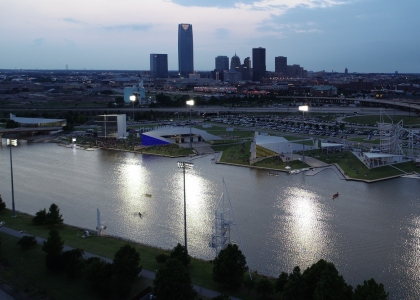 Oklahoma City canoe venue under lights
