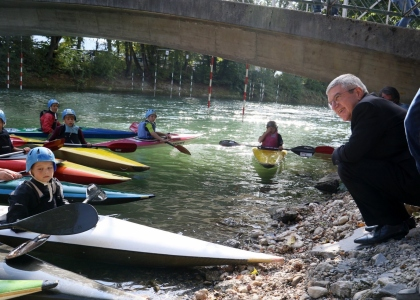 IOC President Thomas Bach Slovenia Tacen slalom