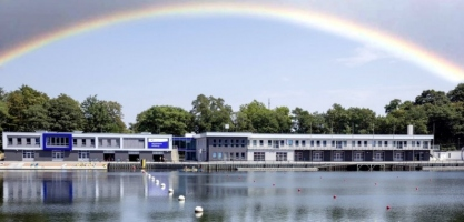 Duisburg regatta course with rainbow