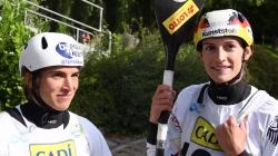 Maialen Chourraut and Ricarda Funk semi-final #ICFslalom 2017 Canoe World Cup Final La Seu