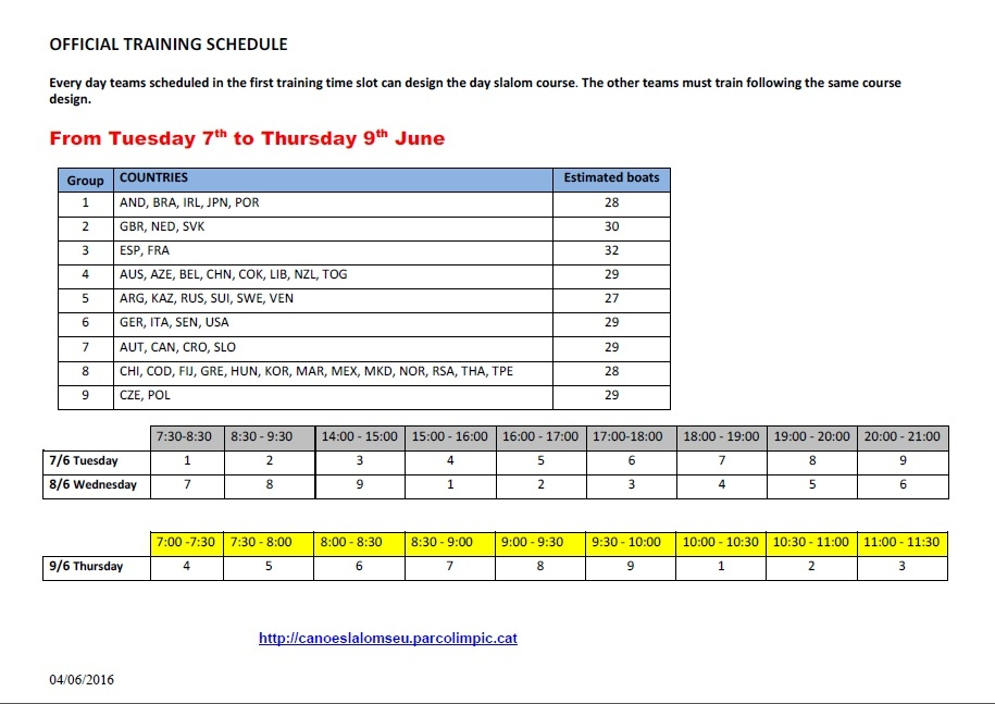 Official Training Schedule Monday 7th to 9th June